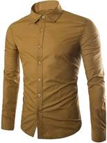 CFD Men's Buttoned Solid-Colored Slim Fit Long Sleeve Dress Shirts S