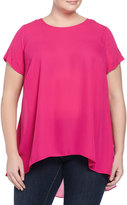 Vince Camuto Short-Sleeve High-Low Blouse, Ruby Pink, Women's