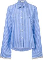 Aviu striped elongated sleeve shirt - women - Cotton/Polyester/Viscose - 40