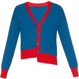 Tomas Maier Asymmetric contrast-trimmed cotton cardigan