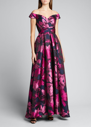 Carmen Marc Valvo Sweetheart Off-the-Shoulder Floral Jacquard Ball Gown