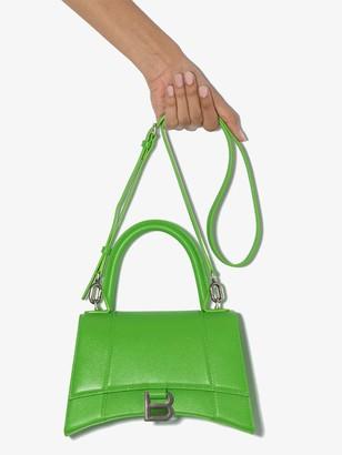 Balenciaga green Hourglass small leather top handle bag