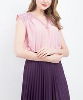 BGN New Pink Lace-Shoulder Hi-Low Tank