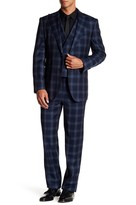 English Laundry Navy Plaid Two Button Notch Lapel Wool Suit