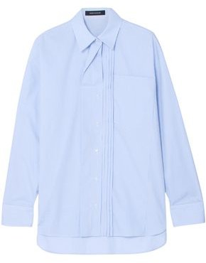 Cédric Charlier Oversized Pintucked Striped Cotton-poplin Shirt