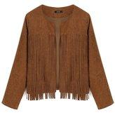 Zeagoo Women Long Sleeve Front Open Tassel Decor Slim Casual WaistCoat Jacket