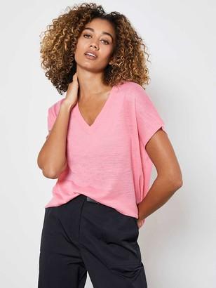 Mint Velvet Linen BlendShort Sleeve Jumper- Pink