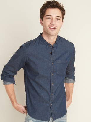 Old Navy Slim-Fit Built-In Flex Chambray Banded-Collar Shirt for Men