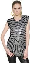Balmain Swarovski Embellished Viscose Jersey Top