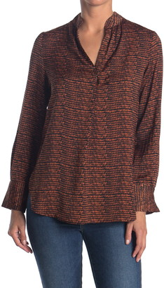David Lerner Mandarin Collar Tunic Blouse