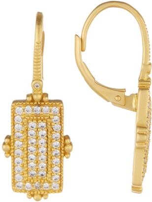 Freida Rothman 14K Gold Plated Sterling Silver Amazonian Allure Pave Bar Drop Earrings