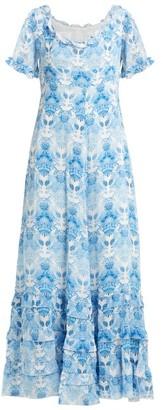 Athena Procopiou - Kalua Floral Print Silk Dress - Womens - Blue White