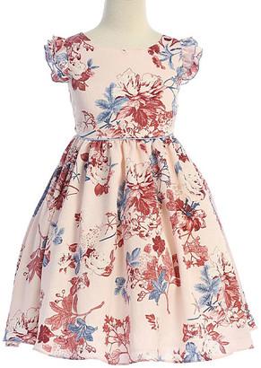 Ellie Kids Girls' Casual Dresses Mauve - Pink & Mauve Floral Angel-Sleeve Dress - Toddler & Girls