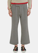 Aganovich Men's Houndstooth Wide Leg Cropped Pants In Black And White