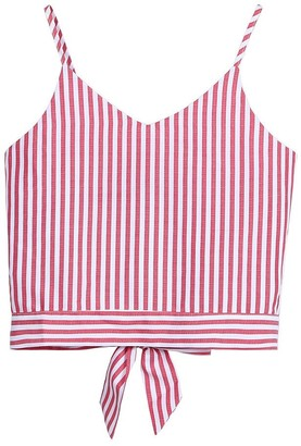 Momoxi Women's Casual V Neck Button Seft Tie Front Crop Cami Tops Camisole Shirt Vest Striped Stitching Sleeveless Bow Button Hight Quality Casual Solid Comfortable Outdoor Activities Dailywear Red