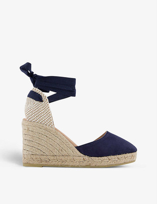 Gaimo Wrap-around suede espadrille wedge sandals