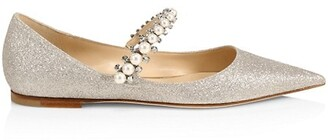 Jimmy Choo Baily Embellished Glitter Mary Jane Flats