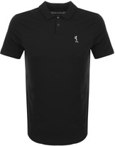 Religion Curved Hem Polo T Shirt Black