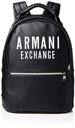 Armani Exchange A X Men's Leather Backpack with Oversized Logo