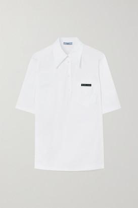 Prada Logo-appliqued Cotton-blend Poplin Shirt - White