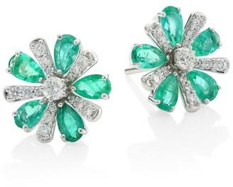 Hueb Botanica 18K White Gold, Diamond & Emerald Stud Earrings