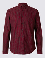 Marks and Spencer Pure Cotton Slim Fit Printed Oxford Shirt