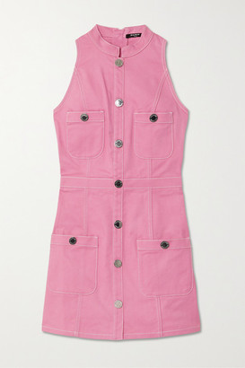 Balmain Button-embellished Denim Mini Dress - Pink