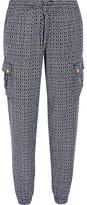 MICHAEL Michael Kors Printed Tencel Track Pants - Navy