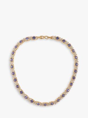 Susan Caplan Vintage D'Orlan 22ct Gold Plated Swarovski Crystal Collar Necklace, Gold/Purple
