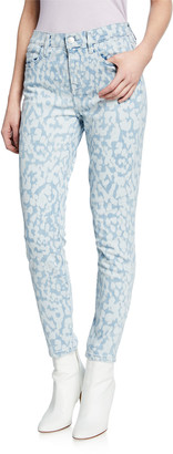 Current/Elliott The High Waist Stiletto Leopard Ankle Jeans