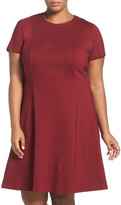Adrianna Papell Short Sleeve Ponte Fit & Flare Dress (Plus Size)