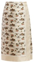 Bottega Veneta Hawaiian-print Twill Skirt - Womens - Ivory Multi