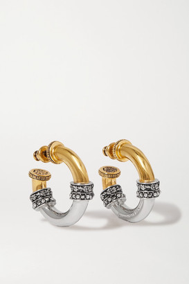 Alexander McQueen Gold And Silver-tone Crystal Hoop Earrings - one size