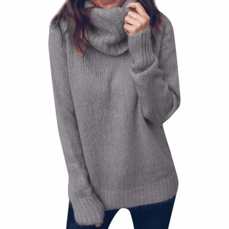 TOPEREUR Womens Turtleneck Jumper Long Sleeve Casual Loose Pullover Solid Knitted Sweater with Ribbed Trims Top Blouse Black