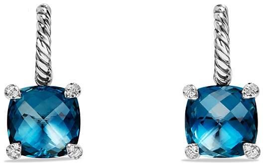 David Yurman Ch'telaine Drop Earrings with Hampton Blue Topaz and Diamonds