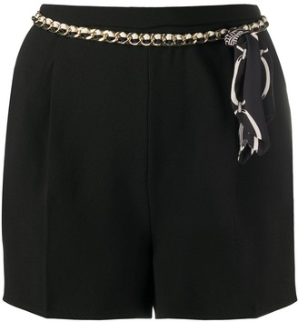 Elisabetta Franchi Front Pleated Chain Belt Shorts