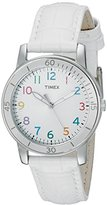 Timex Women's T2P049KW Ameritus Sport White Dial Multi-Colored Numbers, White Croco Patterned Leather Strap Watch