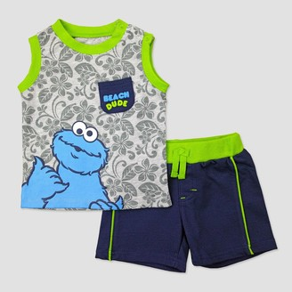 Sesame Street Baby Boys' Cookie Monster Muscle Tee & Shorts Set - 6-9M