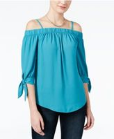 Amy Byer Juniors' Cold-Shoulder Tie-Cuff Top