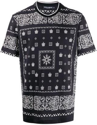 Dolce & Gabbana Bandana print crowns T-shirt