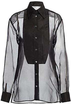 Dolce & Gabbana Organza Pleated Bib Blouse