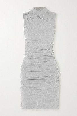 The Line By K Ayme Ruched Melange Stretch-jersey Mini Dress - Gray