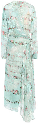 Preen by Thornton Bregazzi Devore Silk Midi Wrap Dress