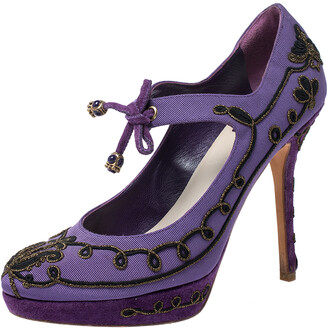 Christian Dior Purple Embroidered Canvas And Suede Platform Pumps Size 38