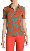 Diane von Furstenberg Abstract-Print Collared Shirt