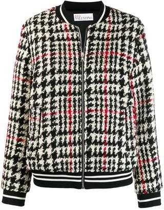 RED Valentino tartan knit bomber jacket