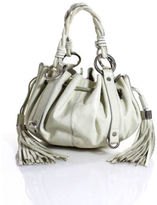 Givenchy Ivory Leather Silver Tone Tassel Drawstring Pumpkin Handbag