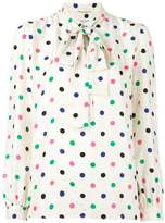 Saint Laurent polka dot lavaliere blouse
