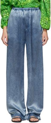 Balenciaga Indigo Satin Acid Wash Lounge Pants
