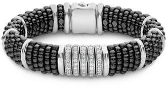 Lagos Sterling Silver Black Caviar Five-Bar Station Pavé Diamond & Black Ceramic Bracelet